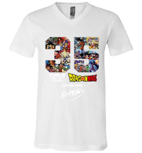 35 years of Dragon Ball 1984 2019 Toriyama Akira signature Men V Neck Shirt