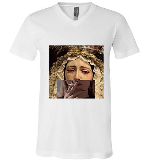 A Santa Mar a Reina y Madre de Misericordia Men V Neck Shirt