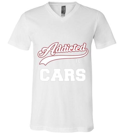 Addicted To Cars Baseball Style Men V Neck Shirt