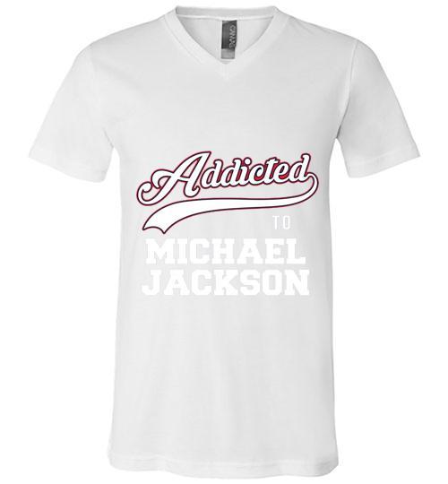 Addicted To Michael Jackson Men V Neck Shirt