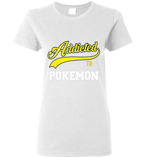 Addicted To Pokemon Baseball Style Ladies Short Sleeve