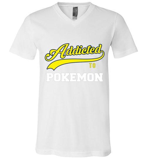 Addicted To Pokemon Baseball Style Men V Neck Shirt