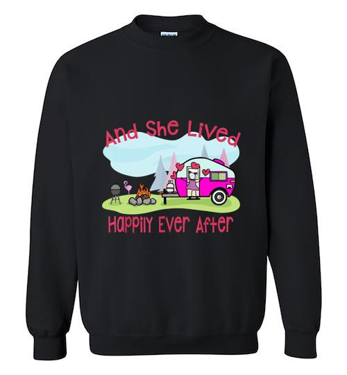 And She Lived Happily Ever After Love Camping Camp Crewneck Sweatshirt