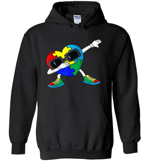 Dabbing Heart Puzzle Pieces Autism Dab Boys Girls Kids Hoodie