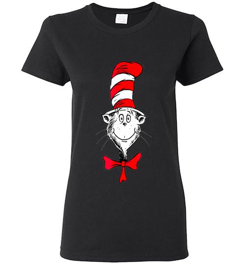 Dr Seuss The Cat in the Hat Face Ladies Short Sleeve
