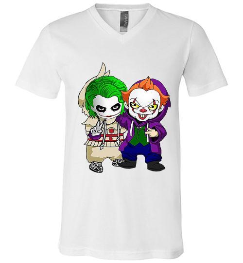 Friends Joker and Pennywise funny costume Men V Neck Shirt