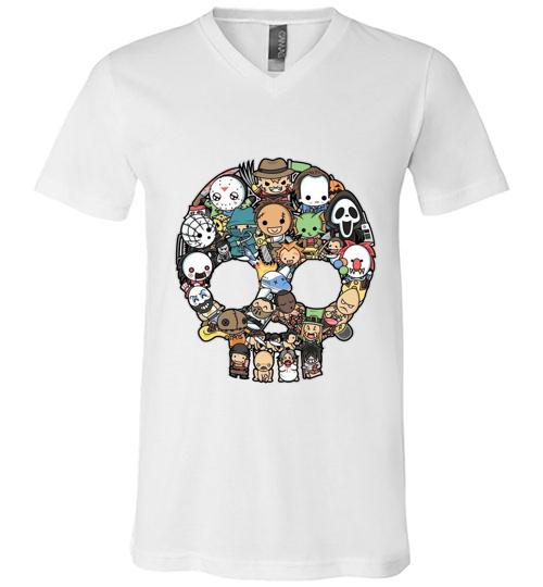 Halloween horror skull Men V Neck Shirt