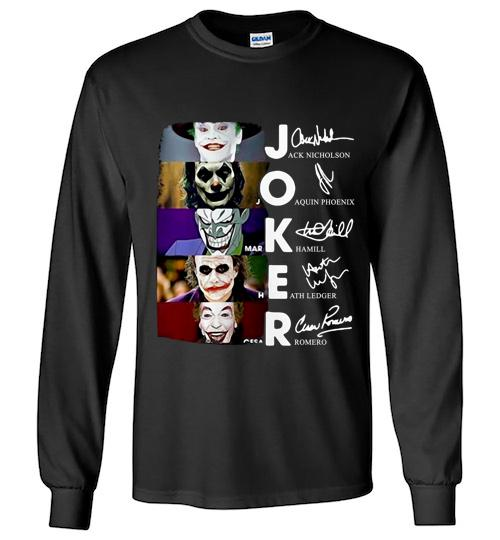 Joker Jackbicholson Quinn Phoenix Hamill Heath Ledger Romero Signatures Unisex Long Sleeve Shirt