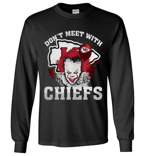Kansas City Chiefs Pennywise don t meet with Chiefs Halloween Unisex Long Sleeve Shirt