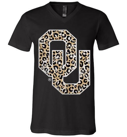Official Oklahoma Sooners Leopard Men V Neck Shirt