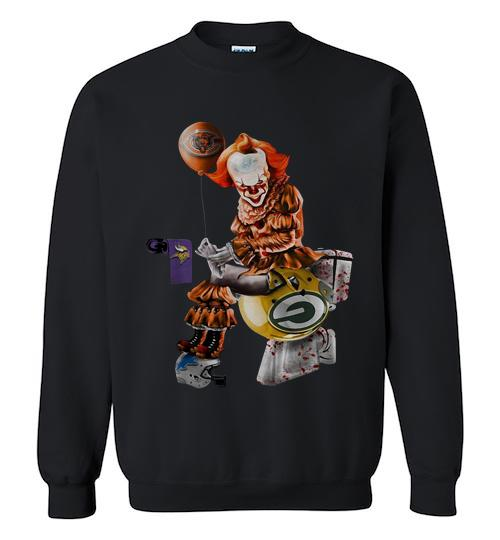 Pennywise Chicago bears Minnesota Vikings Detroit lions and green bay packers toilet Crewneck Sweatshirt