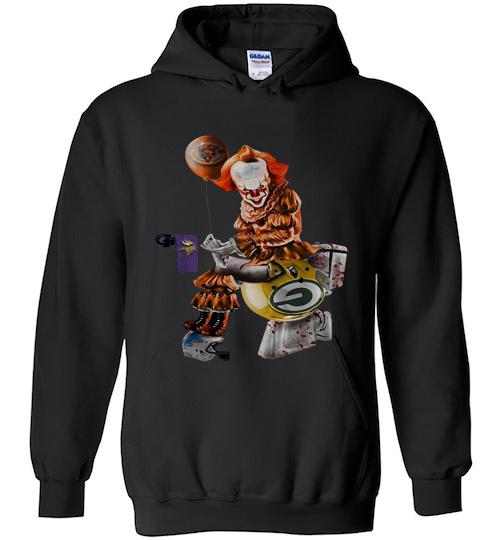 Pennywise Chicago bears Minnesota Vikings Detroit lions and green bay packers toilet Hoodie