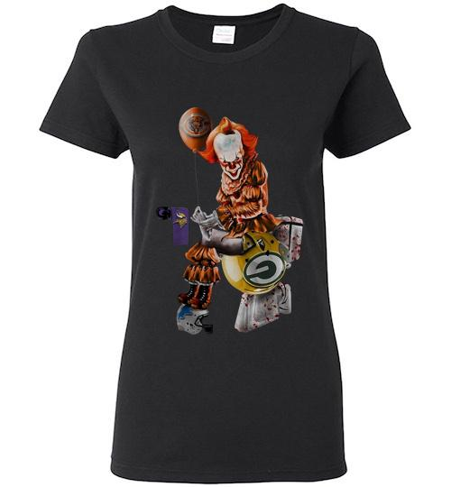 Pennywise Chicago bears Minnesota Vikings Detroit lions and green bay packers toilet Ladies Short Sleeve