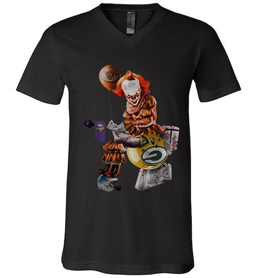 Pennywise Chicago bears Minnesota Vikings Detroit lions and green bay packers toilet Men V Neck Shirt