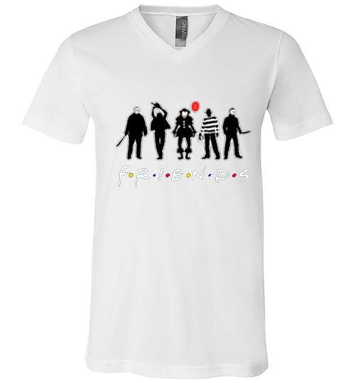 friends horror Halloween 5 Men V Neck Shirt